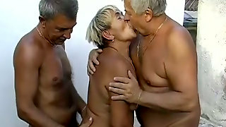 Time worn granny is getting finger fucked in filthy MMF threesome