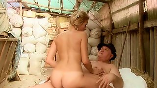 Leggy young blonde with pig tails rides and blows cock of one farm elder guy
