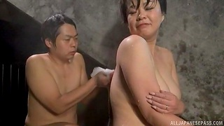 Big Japanese girl gets licked away from a stranger in the pool