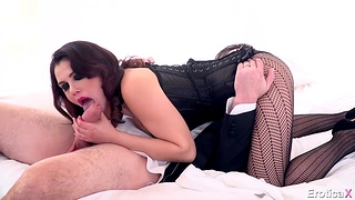 Valentina Nappi performs deepthroat fellatio and gets fucked cowgirl style