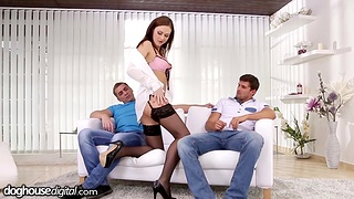 Professional usher girl Tina Kay gets double dipped after blowjob session