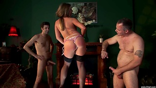 Hardcore MMF threesome with DP for gorgeous babe Gabriela Glazer