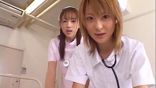 Asian nurses quorum with reference to to be hung up on with a patient - Naho Ozawa