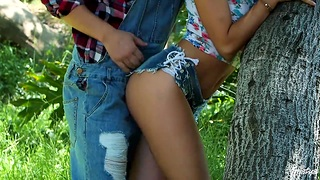 Nympho Adria Rae seduces one stranger guy and they turtle-dove in the forest