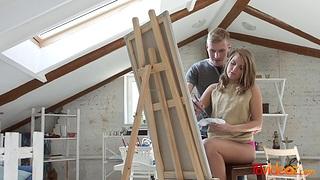Seductive artist Sofi Goldfinger is circle love with her fortunate boyfriend