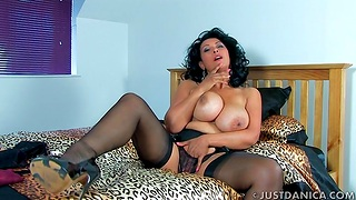 Naughty wife Danica Collins spreads her legs to joshing the camera
