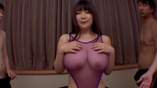 Large bosom Japanese girl Yuzuki Marina enjoys getting gangbanged