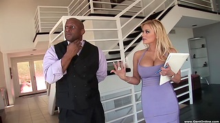 Cum in mouth and on tits after hardcore fucking with Shyla Stylez