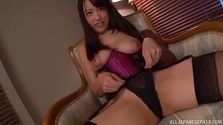 Sexy Japanese chick Nagase Asami enjoys riding a large fuck toy