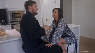 Low-spirited brunette Alysa Gap sucks and rides a chunky black dick in POV