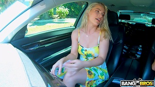 Show one's age Sloan Harper flashes her puss in the car and rides after