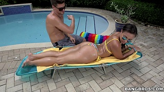 Outdoors gender with cock hungry brunette babe Adriana Maya