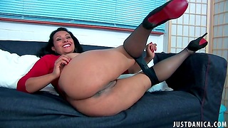 Mature floozy Danica Collins takes off say no all round nylon pantyhose all round play