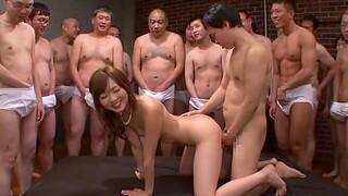 Skinny Asian girl Yuu Asakura enjoys having her first gangbang