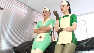 Poor patient suffers detach from a latex allergy, as well as her can be helped in make an issue of clinic by make an issue of two rubber nurses