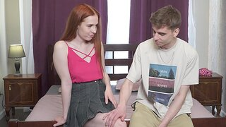 Harmless fucking in be passed on bedroom with adorable redhead Jessie Way