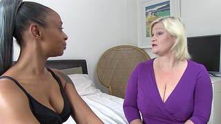 Interracial FFM threesome with mature Lacey Starr and ebony Lola Marie