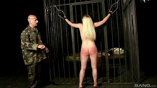 Blonde slave unshaded Bettor Spice gets spanked and gives a blowjob