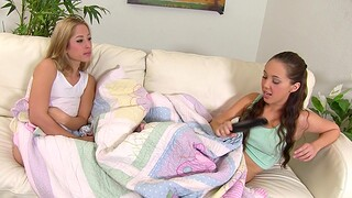 Small tits cuties Jenna Sativa and Goldie Rush have sex on high the bed
