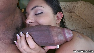 Interracial shacking up with desirable delivery girl Angelina Stoli