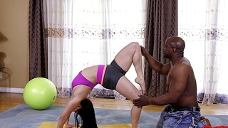 Curvy model works out and gets fucked by a extensive black dick