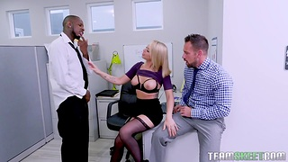 Egregious milf Zoey Monroe is fucked by two colleagues right in the office