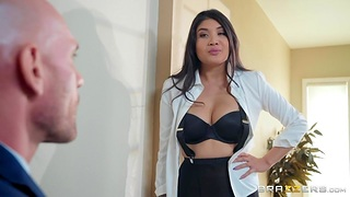 Brenna Sparks in ripped pantyhose is fucked away from bald directed macho Johnny Sins