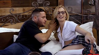 Cute chick Alexa Grace with glasses moans while getting fucked