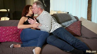 Ayda Swinger sucks old cock sitting on lover's face together with gets fucked doggy style