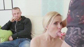 Horny swinger wives enjoy taking hard dicks in frowardness with an increment of sucking good while husbands observing