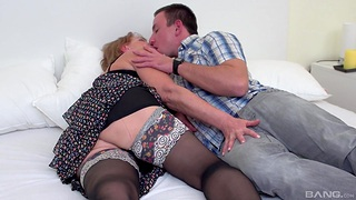 Mature screams with an increment of rubs clit while fucking her nephew