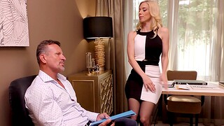 Blonde darling wearing nylon stockings respecting hot ass - Katrin Wolf