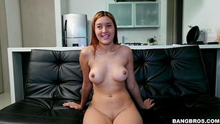 Natural tits cutie Kta takes absent her rags and sucks a dick
